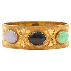 14 Karat Yellow Gold Jade Bangle Bracelet
