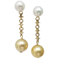 14 Karat Gold Natural White and Yellow South Sea Pearl and Diamond Earrings