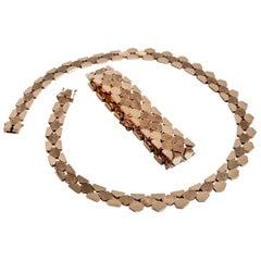 14 Karat Gold Necklace and Bracelet Set, Denmark, 1970