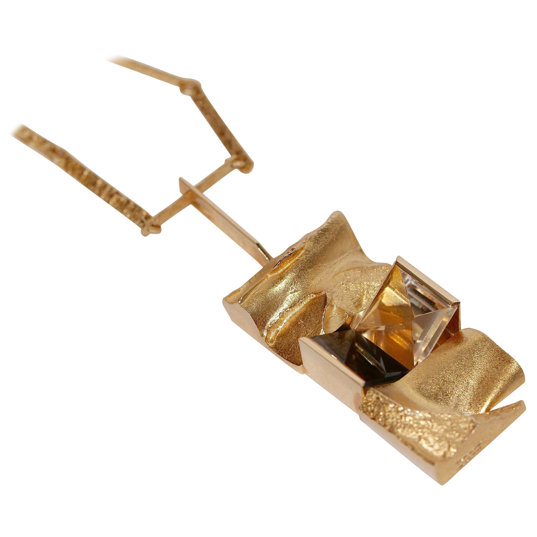 14 Karat Gold Necklace Pendant Lapponia Design Björn Weckström with Bracelet