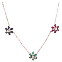 14 Karat Gold Necklace with 3 Flowers in Ruby Sapphire Emerald with Diamonds