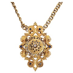 14 Karat Gold Necklace with Highly Stylized Diamond and Sapphire Pendant/Brooch