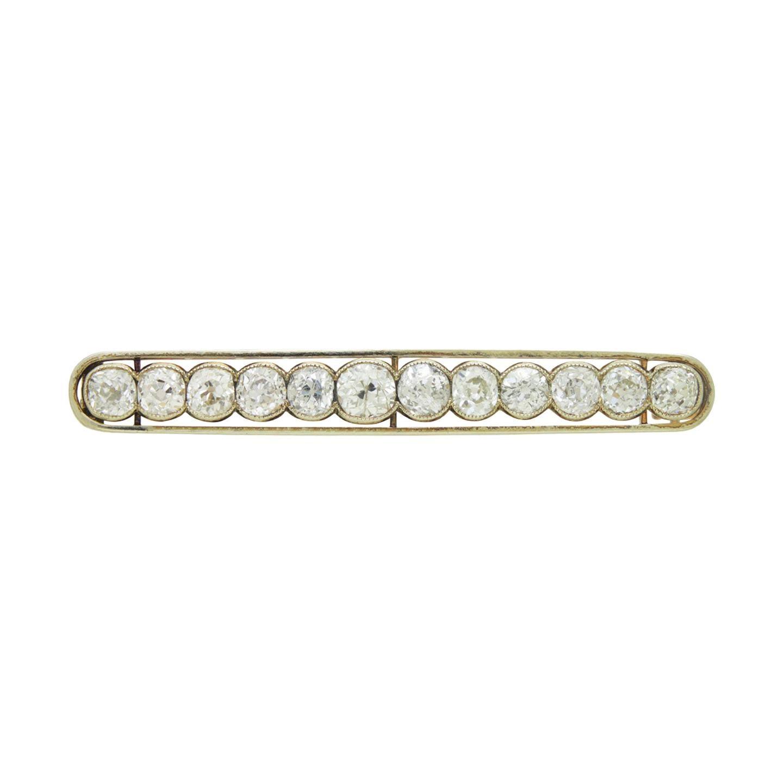 14 Karat Gold & Old European Cut Diamond Bar Brooch