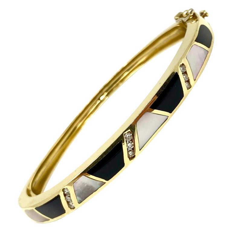 14 Karat Gold Onxy Mother of Pearl and Diamond Inlay Bangle Bracelet