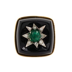 14 Karat Gold Onyx Cocktail Ring with Emerald and Diamond Star