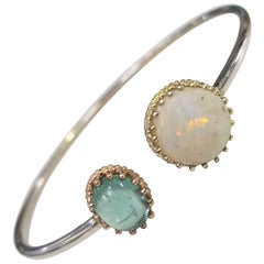 14 Karat Gold Opal and Blue Topaz Bracelet