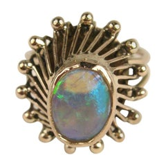 14 Karat Gold Opal Cocktail Ring, 1950s