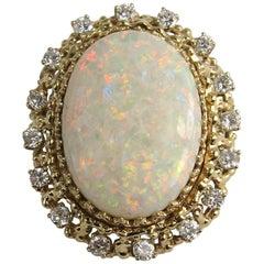 14 Karat Gold Opal Diamond Pendant, Brooch, 1960s 13+ Carat