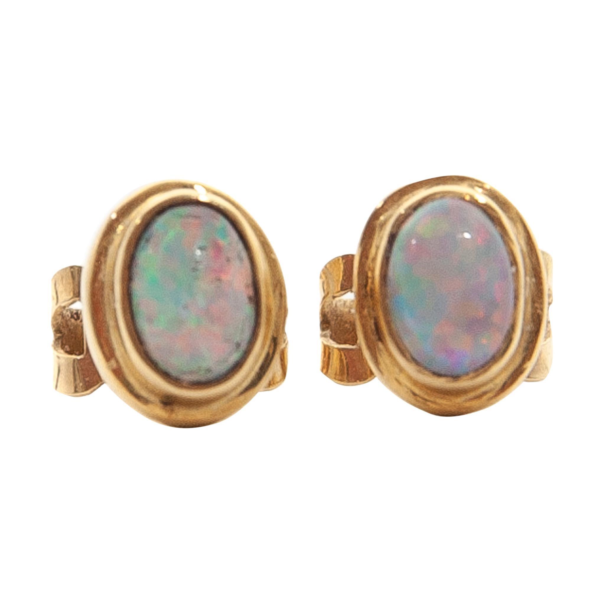 14 Karat Gold Opal Stud Earrings