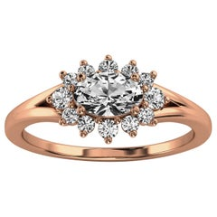 14 Karat Gold Organic Design Elongated Cushion Diamond Ring Center, 1/2 Carat