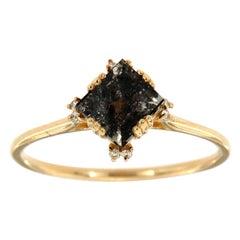 14 Karat Gold Organic Square Salt and Pepper Diamond Ring Center-0.82 Carat