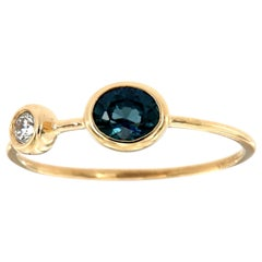 14 Karat Gold Oval Blue Sapphire and Diamond Vintage Ring Center 1/2 Carat
