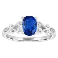 14 Karat Gold Oval Blue Sapphire and Diamond Vintage Ring 'Center-1.48 Carat'