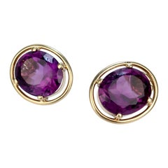 14 Karat Gold and Oval-Cut Purple Spinel Earrings