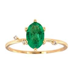 14 Karat Gold Oval Green Emerald Organic Vintage Fashion Ring Center, 2/3 Carat