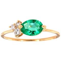 14 Karat Gold Oval Green Emerald Rustic Vintage Diamond Ring Center, 2/3 Carat