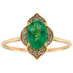 14 Karat Gold Oval Green Emerald Vintage Halo Diamond Ring Center, 3/4 Carat
