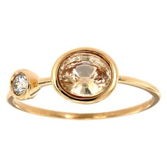 14 Karat Gold Oval Peach Sapphire and Diamond Vintage Ring Center, 1 Carat