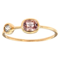14 Karat Gold Oval Pink Sapphire and Diamond Vintage Ring Center, 1/2 Carat