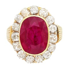 14 Karat Gold, Oval Ruby and Diamond Ring