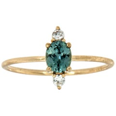 14 Karat Gold Oval Teal Sapphire Rustic Vintage Diamond Ring 'Center-1/2 Carat'