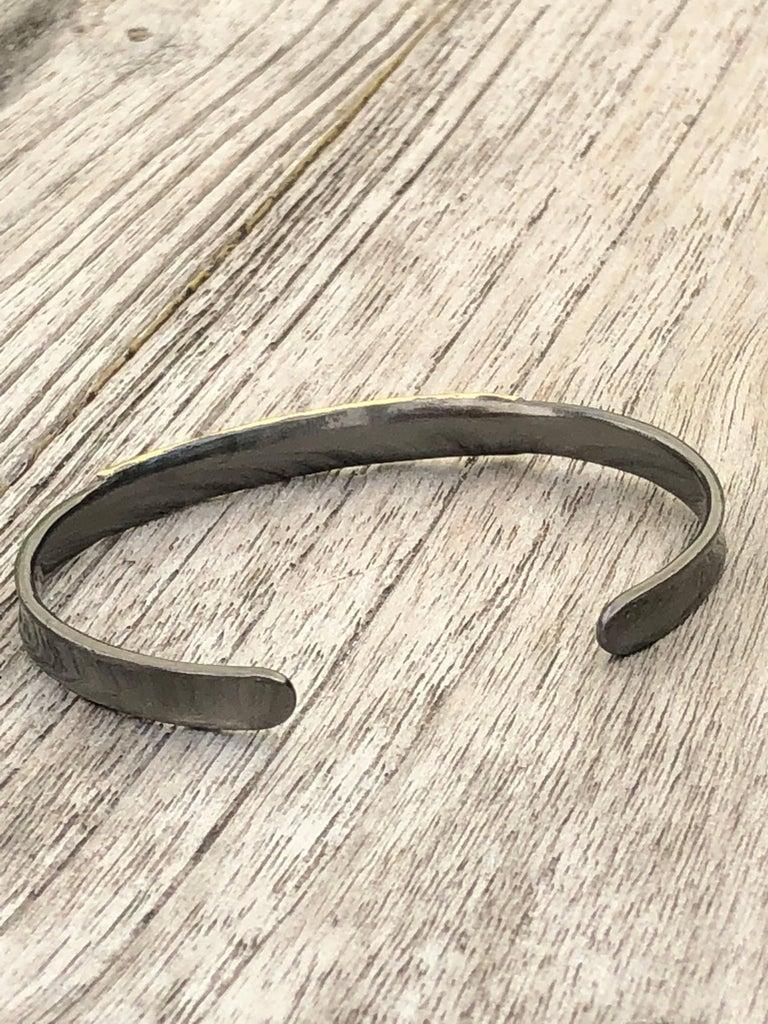14 Karat Gold Oxidized Sterling Silver Bangle Bracelet For Sale 2