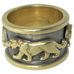 "14 Karat Gold ""Panther"" Band Ring"