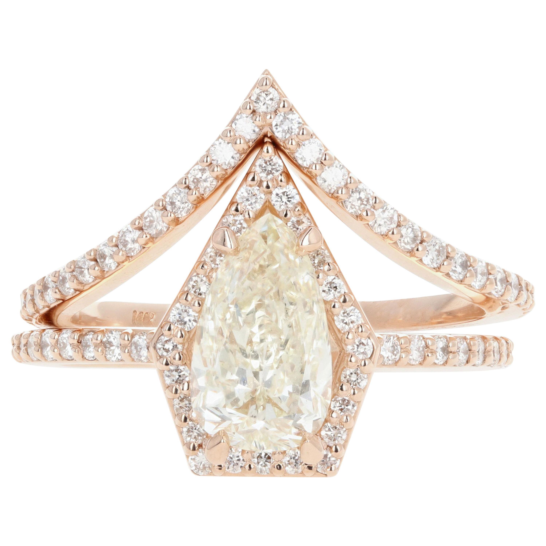 14 Karat Gold Pear Diamond Halo Engagement Ring with Matching Jacket Band Set