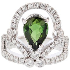 14 Karat Gold Pear Shape 2.25 Carat Green Tourmaline and Diamond Tiara Ring