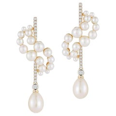 14 Karat Gold Pearl Curve Form Earrings with Drops