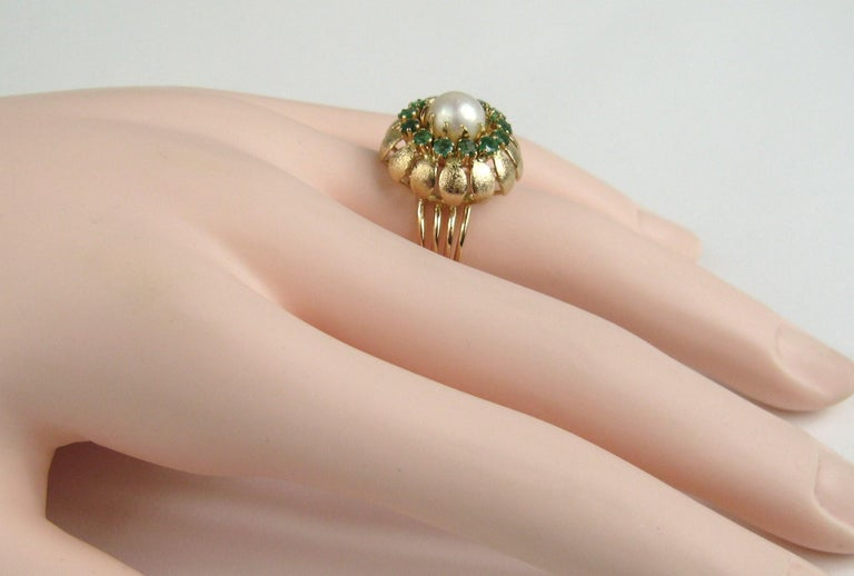 Retro 14 Karat Gold Pearl Emerald Cocktail Ring, 1960s For Sale