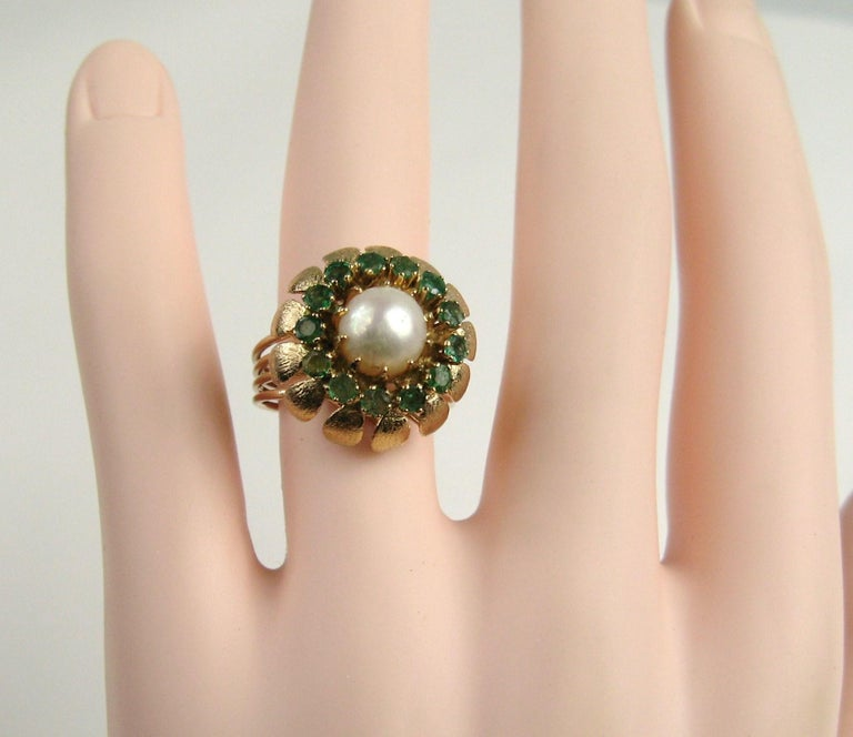 Women's 14 Karat Gold Pearl Emerald Cocktail Ring, 1960s For Sale