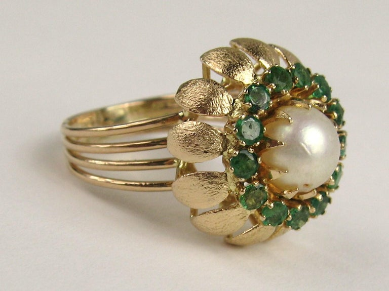 14 Karat Gold Pearl Emerald Cocktail Ring, 1960s For Sale 1