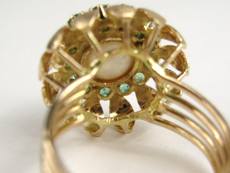 14 Karat Gold Pearl Emerald Cocktail Ring, 1960s For Sale 3