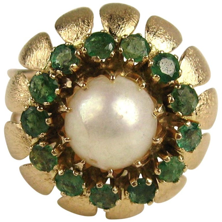 14 Karat Gold Pearl Emerald Cocktail Ring, 1960s For Sale