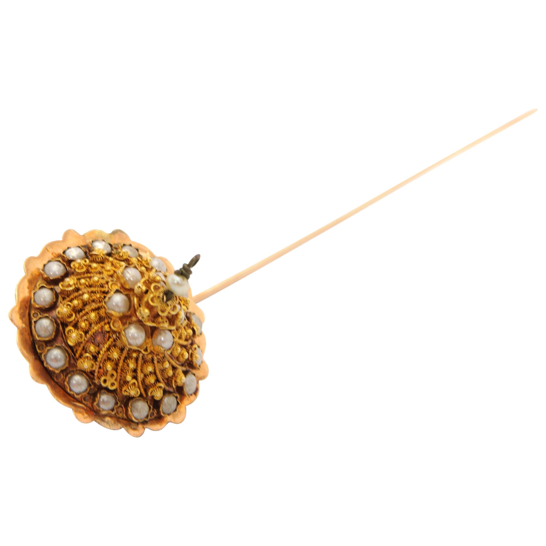 14 Karat Yellow Gold Filigree Pearl Stick Pin Brooch