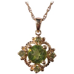 14 Karat Gold Peridot Mexican Pendant Necklace