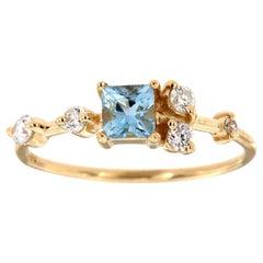 14 Karat Gold Petite Teal Princess Sapphire Diamond Ring Center 0.28 Carat