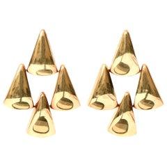 14 Karat Gold Pierced Lever Back Chandelier Earrings Italian Vintage