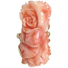 14 Karat Gold Pink Angel Carved Floral Coral Ring