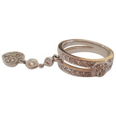 14 Karat Gold Pink Ring with Dangling Heart Charm, Round Brilliant Diamonds
