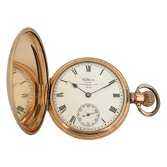 14 Karat Gold-Plated Full Hunter Dennison Case Marquis Waltham Mass Pocket Watch