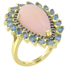 14 Karat Gold-Plated Sterling Silver Pink Opal L.B.T, White Topaz Solitaire Ring