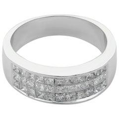 14 Karat Gold Princess Cut Diamonds Invisible Set Ladies Thick Band 1.00 Carat