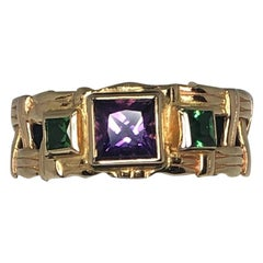 "14 Karat Gold Purple and Green Amethyst ""Basket Weave"" Ring by Patricia Daunis"