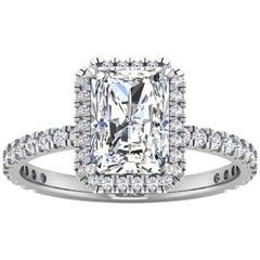 14 Karat Gold Radiant Diamond Halo Pavé 2 Carat Center '2.45 Carat' F SI1 GIA