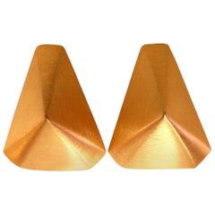 14 Karat Gold Raised Modified Pyramid Clip Earrings Brushed Matte