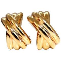 14 Karat Gold Raised X Clip Earrings Elongated