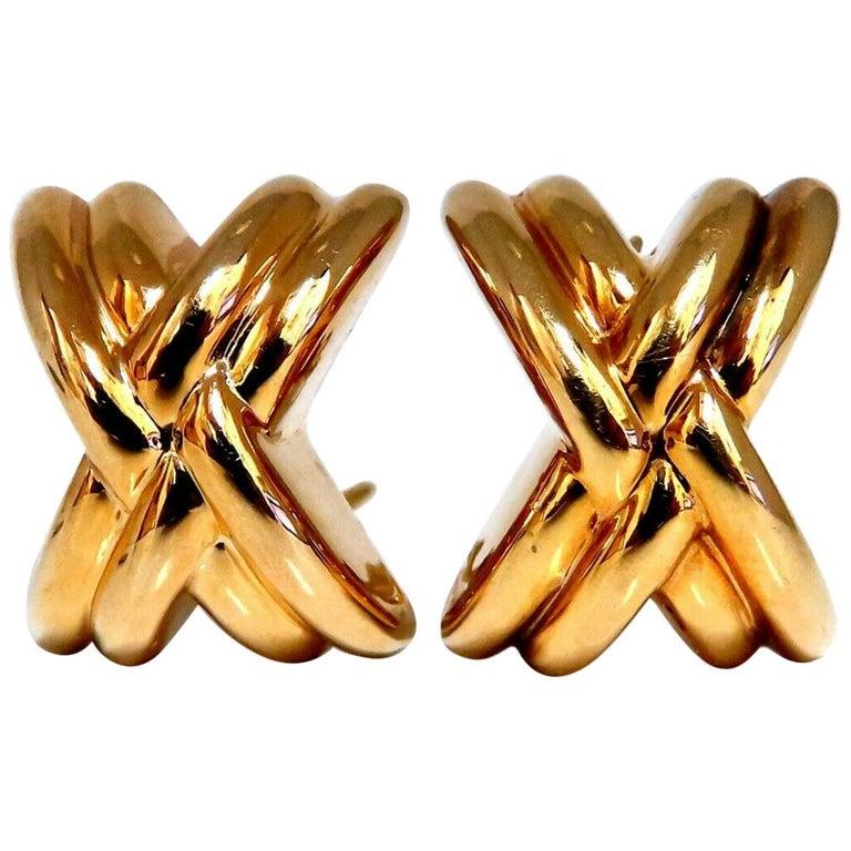 14 Karat Gold Raised X Clip Earrings For Sale