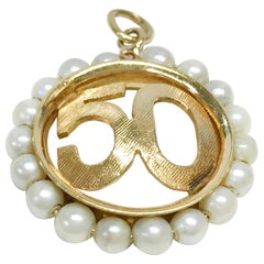 14 Karat Gold Rembrandt 50 Ring of Pearls Pendant